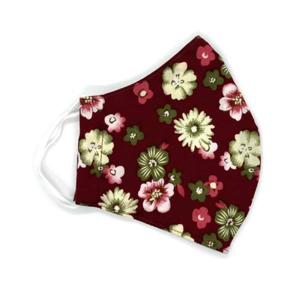 floral burgundy face covering