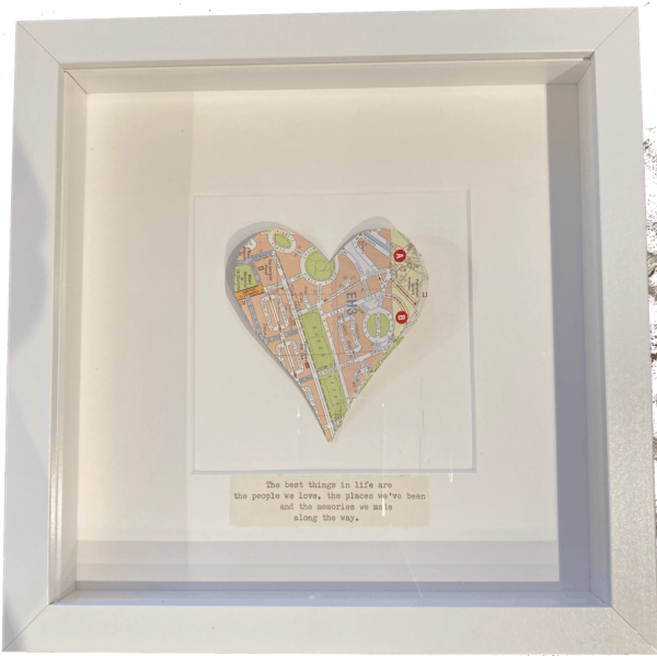 framed square map picture