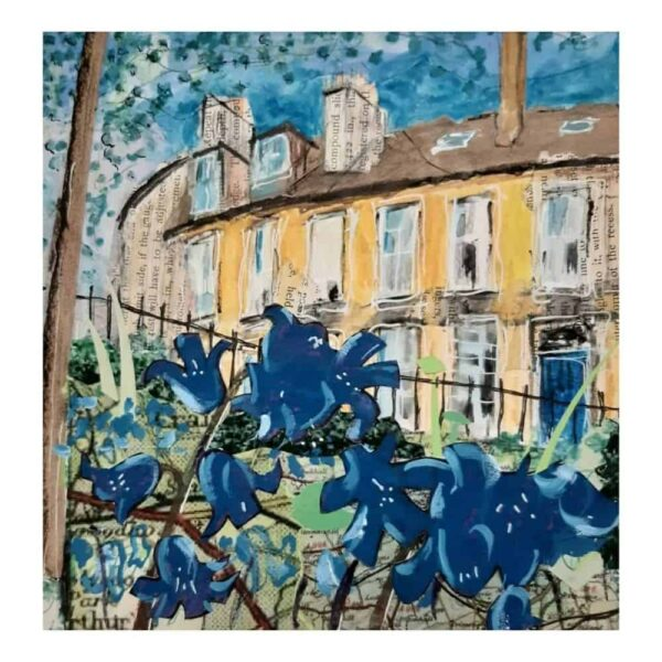 Dean Village (Blue Flowers ) Print
