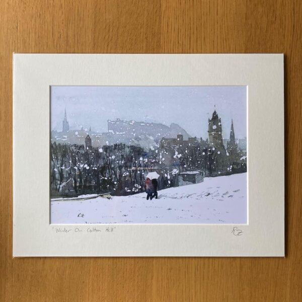 winter on calton hill edinburgh