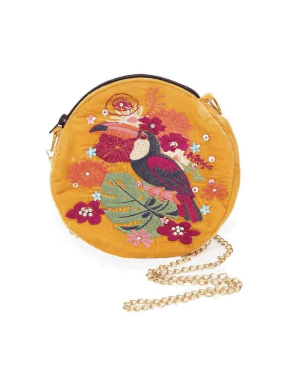 embroidered mustard toucan bag