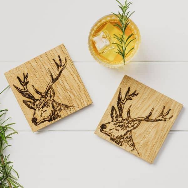 oak stag coasters
