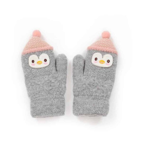 grey and pink penguin mittens