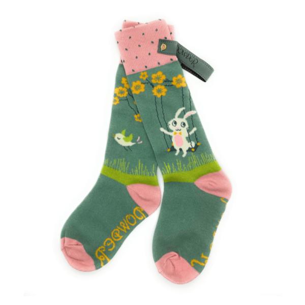 bunny on a swing socks