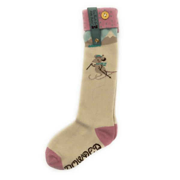 skiing mouse socks