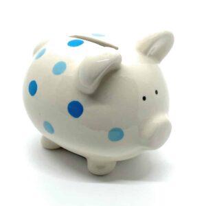 piggy bank with blue spots
