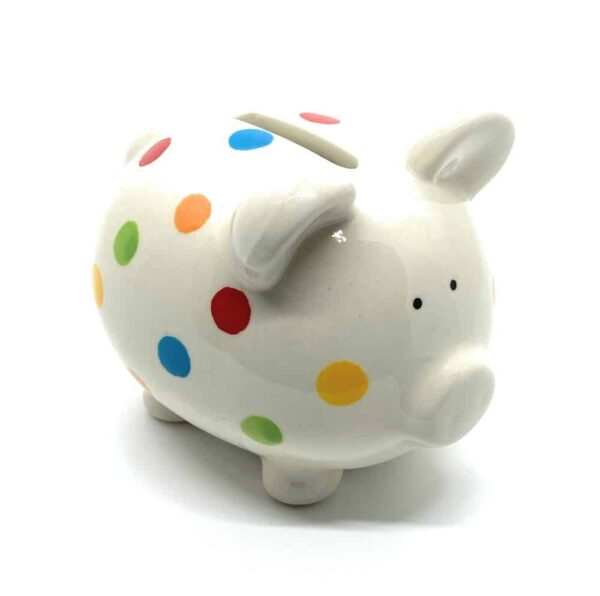 piggy bank with multicoloured spots