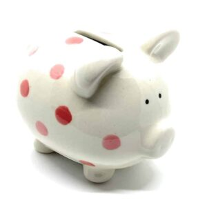 piggy bank with pink spots