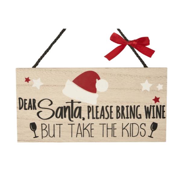santa wine sign