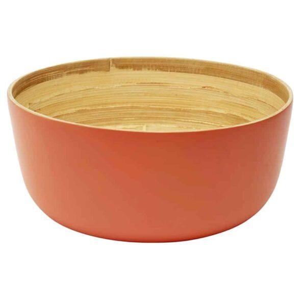 coral bamboo salad bowl