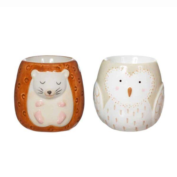owl and hedgehog egg cup set
