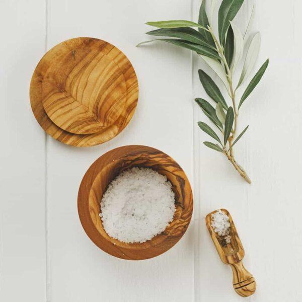olive wool salt bowl and scoop
