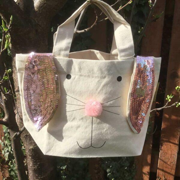 pink easter bunny bag