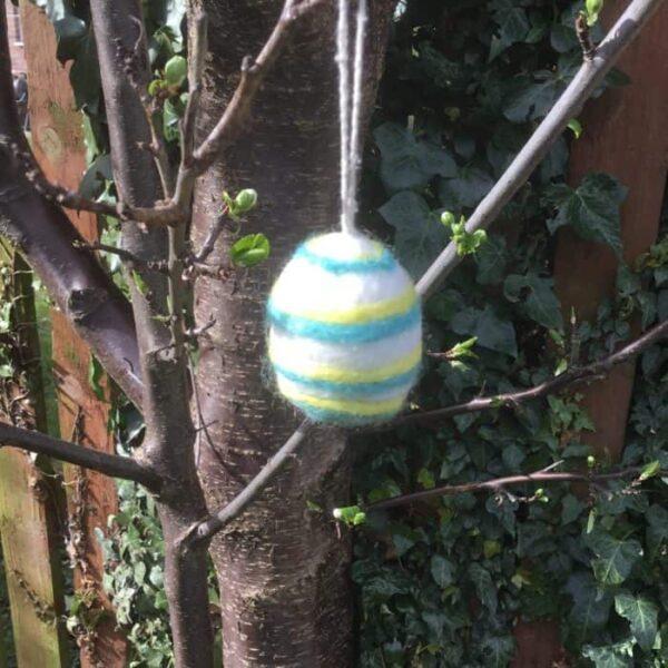 felt easter egg turquoise yellow stripes