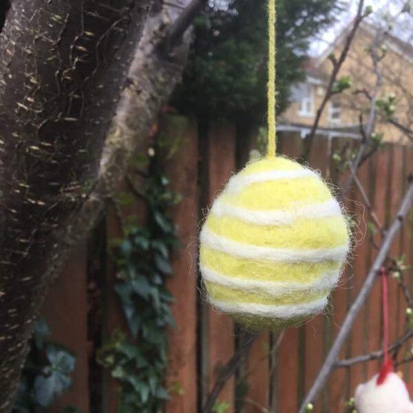 felt easter egg yellow white stripes