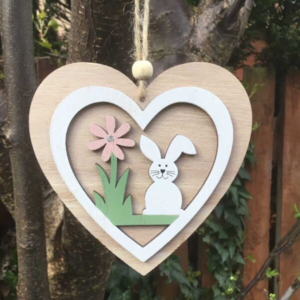wooden easter heart decoration
