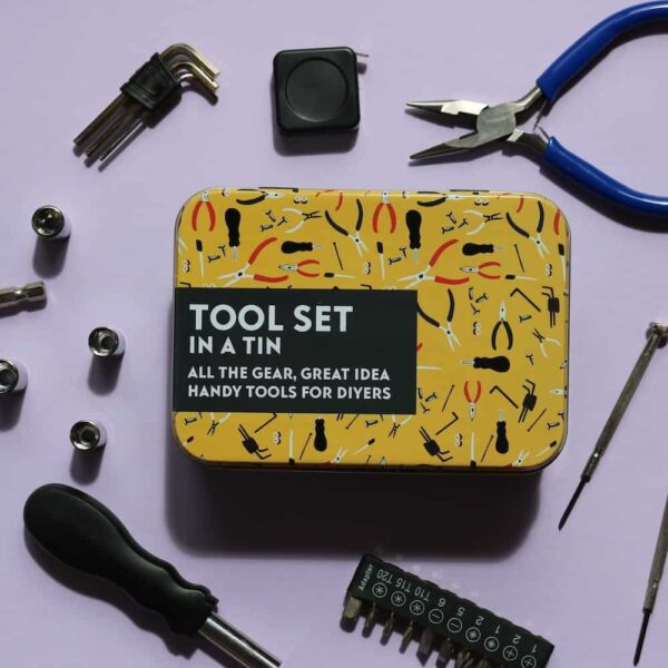 tool set in a tin tools