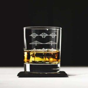 engraved glass tumbler bridges and whisky