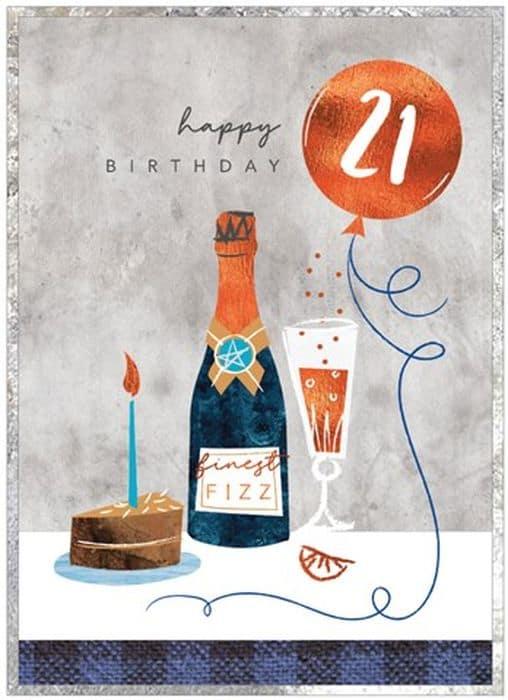 Finest Fizz 21st Birthday Card