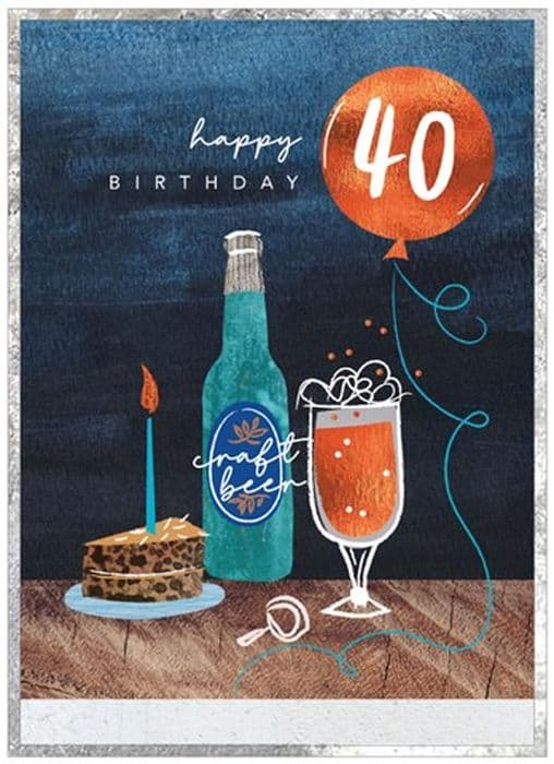 Happy Beer And Cake 40th Birthday Card