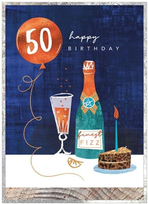 Finest Fizz 50th Birthday Card