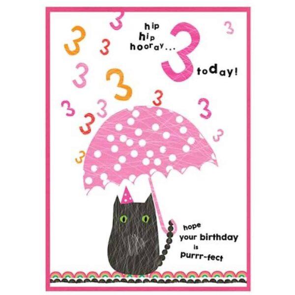 3rd Purr-fect Birthday Card