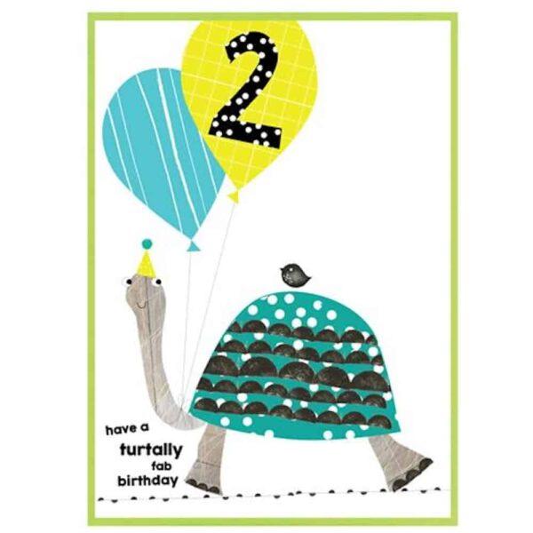 A Turtally Fab 2nd Birthday Card