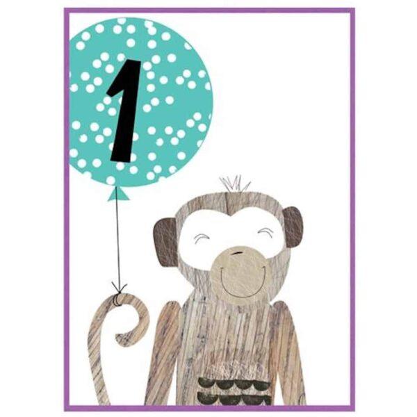 monkey 1 birthday card