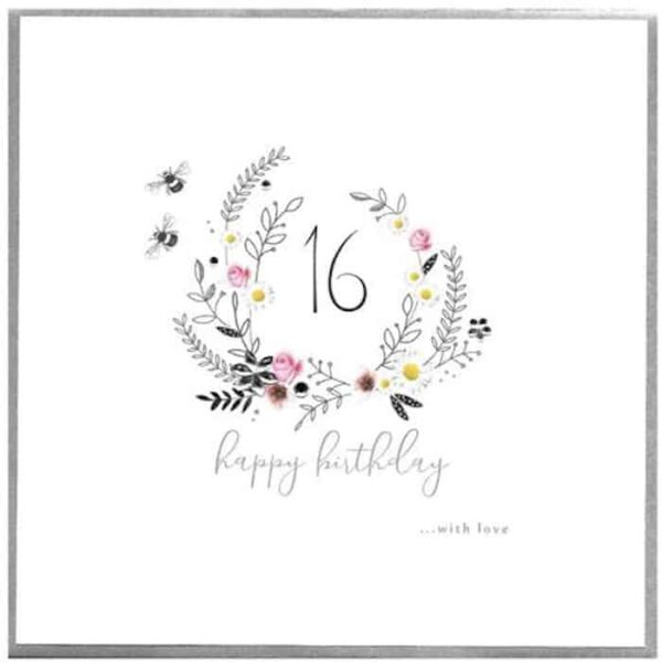 16th With Love Birthday Card