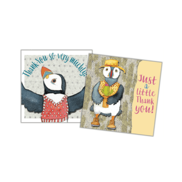 woolly puffin thank you cards