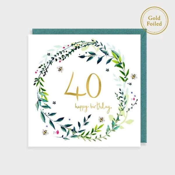 Bee And Floral 40th Birthday Card