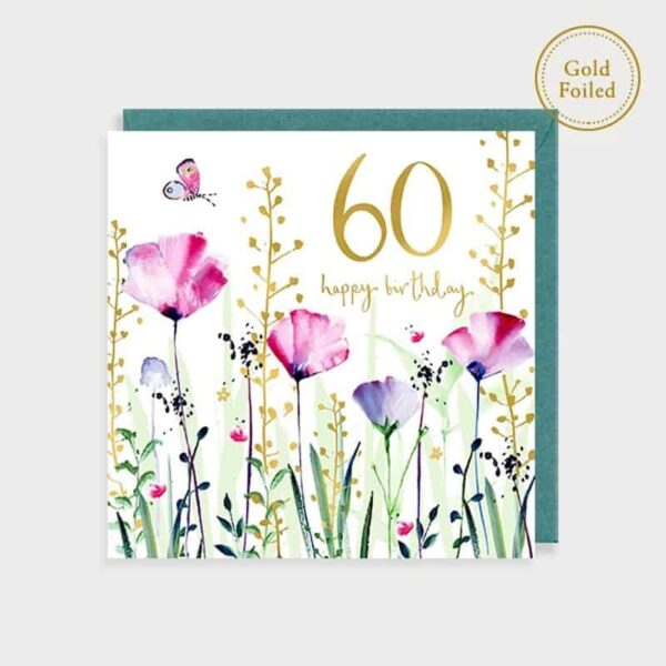 Bee And Floral 60th Birthday Card
