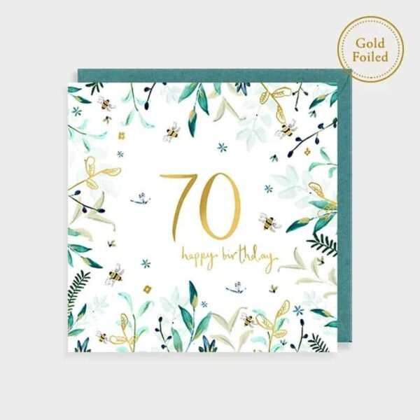 Bee And Floral 70th Birthday Card