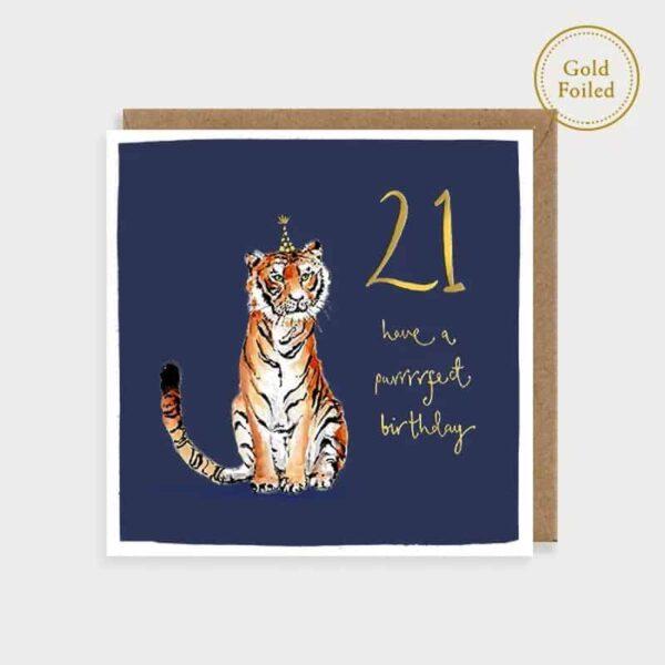 Purrrrfect 21 Tiger Birthday Card