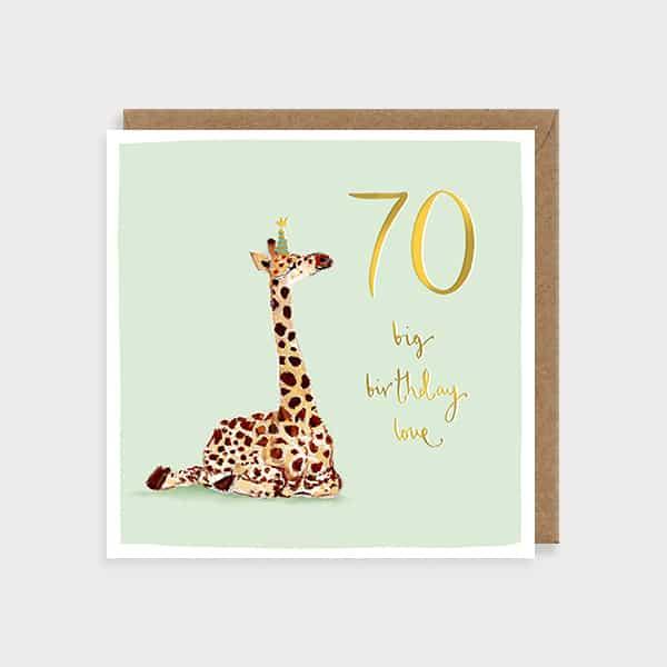 Big Giraffe Love 70 Birthday Card