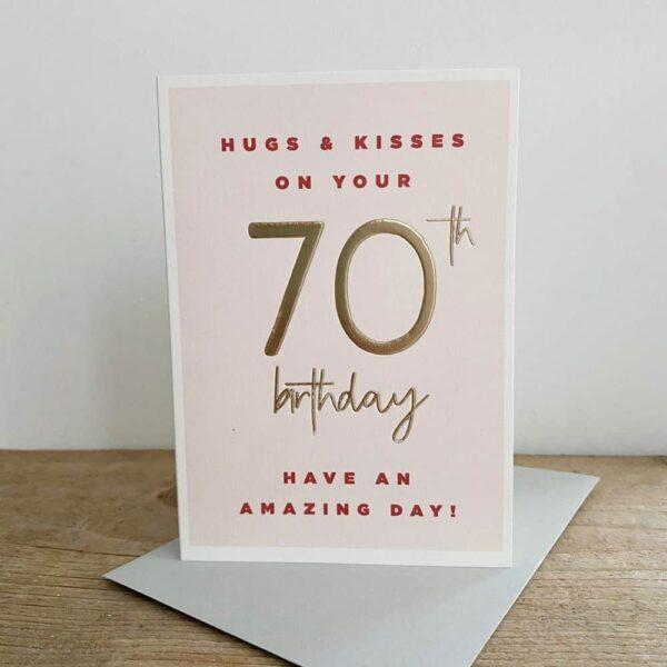 Hugs On Your 70th Birthday Card