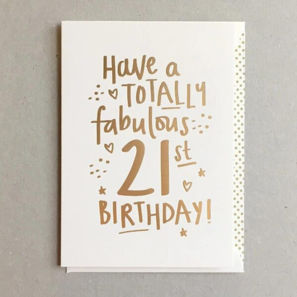 totally fab 21 birthday card