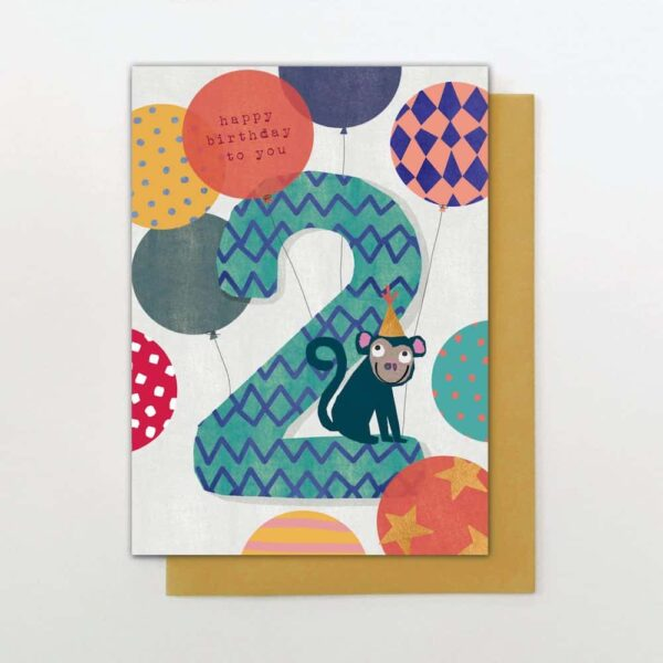 Monkey & Balloons 2nd Birthday Card