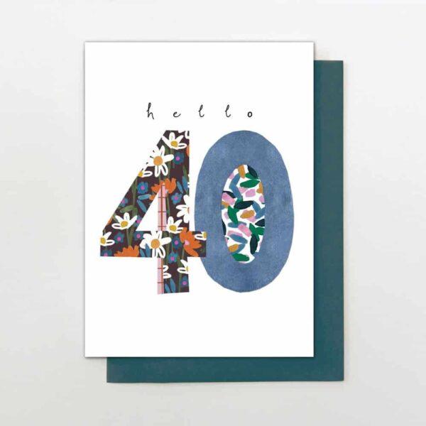 hello 40 birthday card