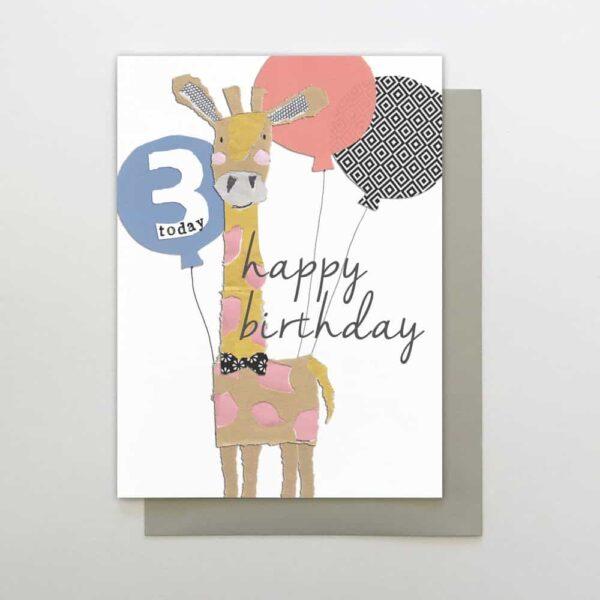 Giraffe 3rd Birthday Card