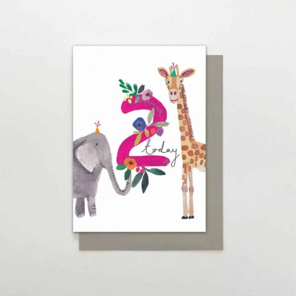 Giraffe & Elephant 2nd Birthday Card