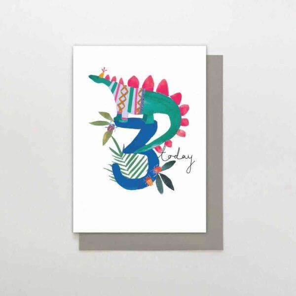Dinosaur 3rd Birthday Card