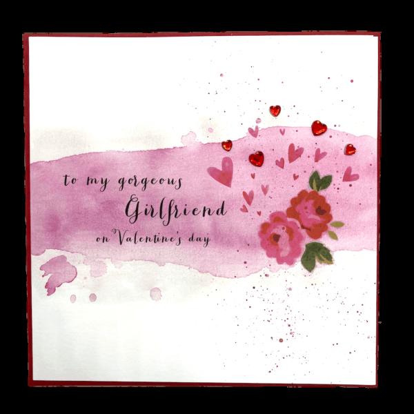 To My Gorgeous Girlfriend On Valentine's Day Jewel Card