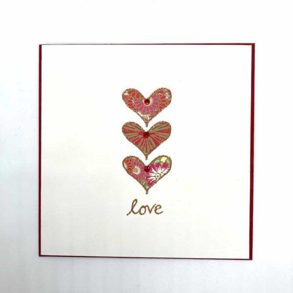 Three Lovehearts Valentine's Card