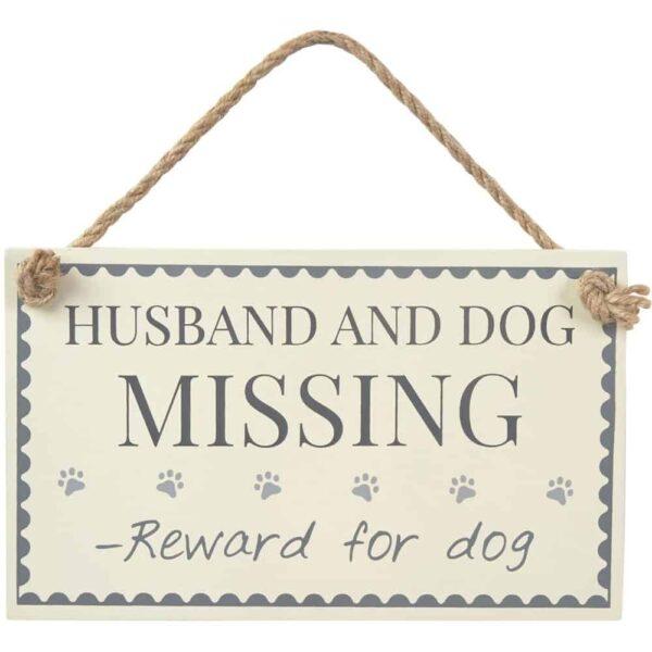 husband and dog missing sign