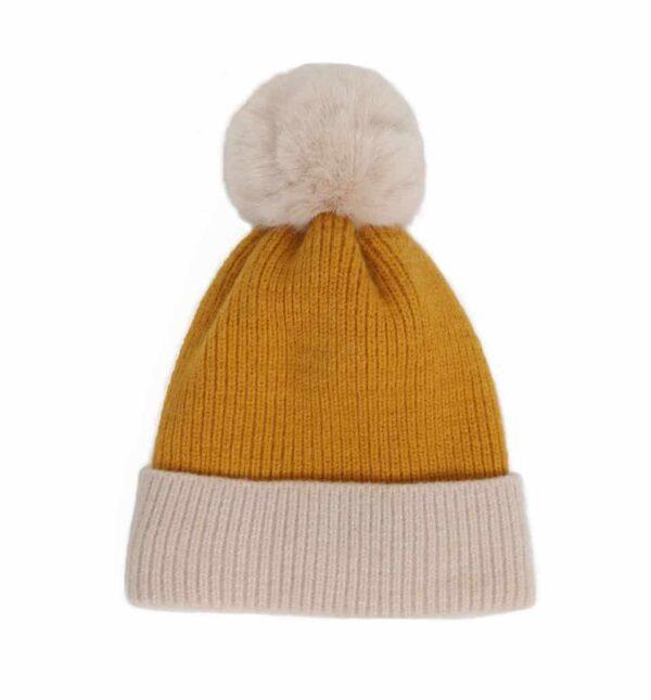 yellow bonnie pom pom hat