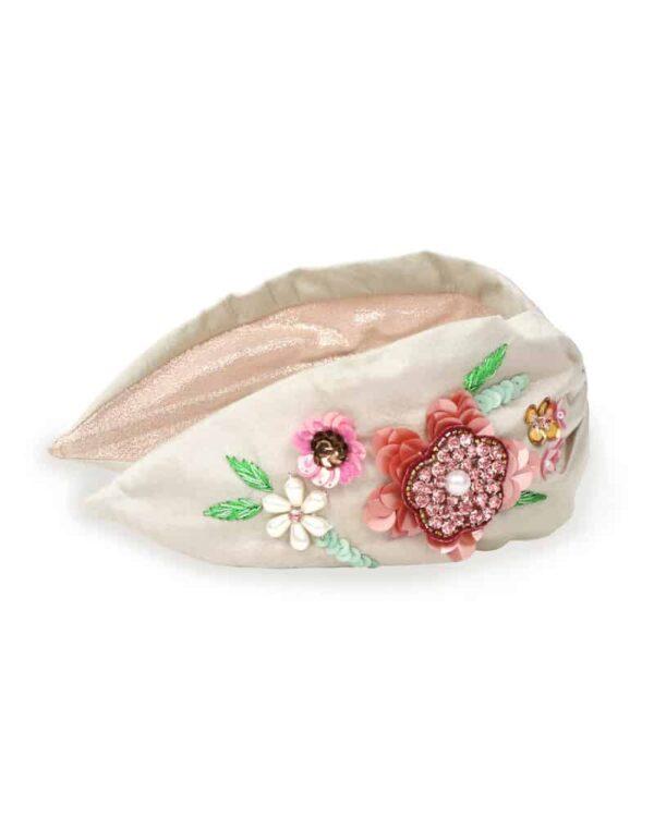 champagne floral headband
