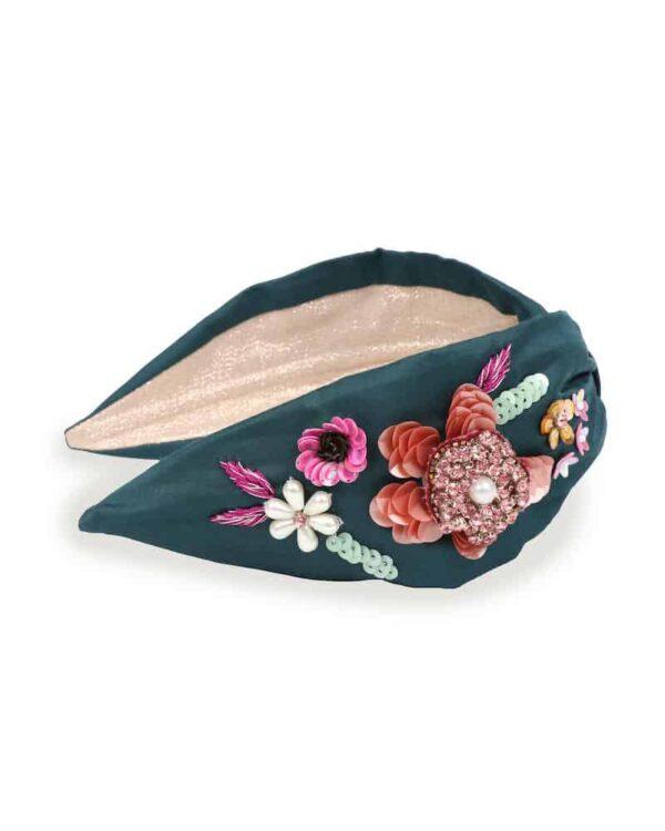 embroidered teal headband