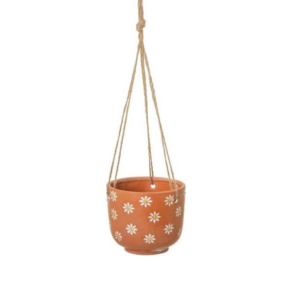 daisy terracotta hanging planter