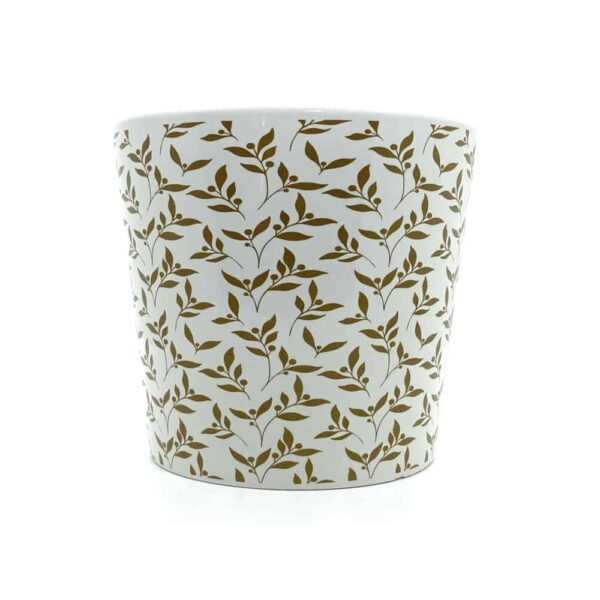 Gold And White Floral Plant Pot